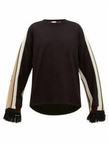 Burberry - Logo-jacquard Fringe-cuff Cotton Sweater - Womens - Black Multi
