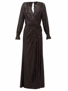 Jonathan Simkhai - Sequin-embroidered Draped V-neck Gown - Womens - Black