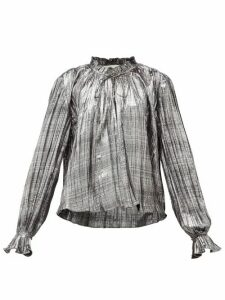Jonathan Simkhai - Ruffled High-neck Plissé-lamé Blouse - Womens - Silver