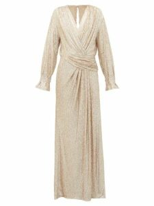 Jonathan Simkhai - Sequin-embroidered Draped V-neck Gown - Womens - Gold