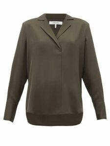 Frame - Notch-lapel Collar Silk-crepe Blouse - Womens - Khaki