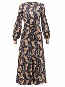 Goat - Jemima Floral-print Charmeuse Midi Dress - Womens - Black Multi