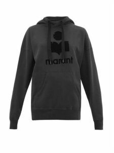 Isabel Marant Étoile - Mansel Flocked Logo Cotton Blend Hooded Sweatshirt - Womens - Black