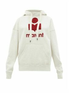 Isabel Marant Étoile - Mansel Flocked-logo Cotton-blend Hooded Sweatshirt - Womens - Light Grey