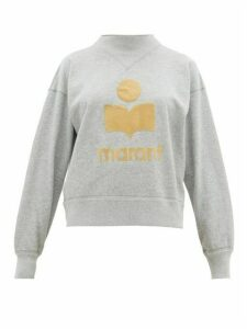 Isabel Marant Étoile - Moby Flocked Logo Cotton Blend Sweatshirt - Womens - Grey