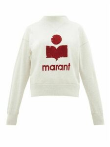 Isabel Marant Étoile - Moby Flocked-logo Cotton-blend Sweatshirt - Womens - Light Grey