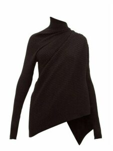 Marques'almeida - Metallic Draped High-neck Wool Sweater - Womens - Black