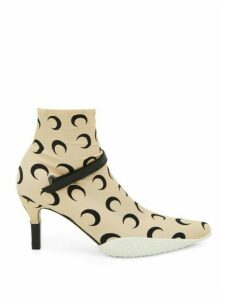 Marine Serre - Crescent Moon Print Stretch Jersey Ankle Boots - Womens - Black Beige