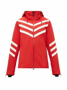 Perfect Moment - Chevron-striped Technical Ski Jacket - Womens - Red