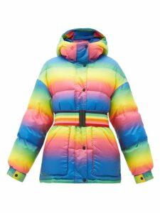 Perfect Moment - Oversized Rainbow-belt Down-filled Ski Jacket - Womens - Rainbow