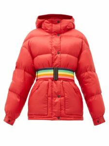 Perfect Moment - Oversized Rainbow-belt Down-filled Ski Jacket - Womens - Red