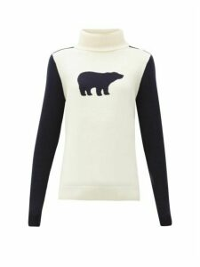 Perfect Moment - Bear Roll-neck Wool Sweater - Womens - White Navy