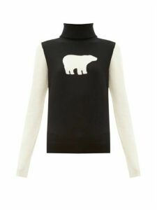 Perfect Moment - Bear Roll Neck Wool Sweater - Womens - Black White