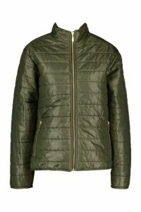 Womens Panelled Funnel Neck Jacket - green - 10, Green