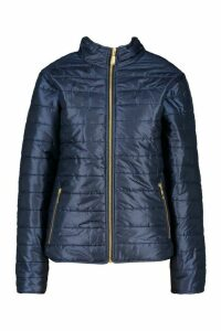 Womens Panelled Funnel Neck Jacket - navy - 10, Navy