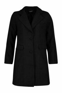 Womens Tailored Self Fabric Button Wool Look Coat - black - 10, Black