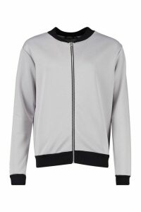 Womens Basic Bomber Jacket - Grey - 10, Grey