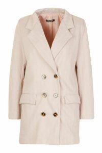 Womens Petite Herringbone Wool Look Double Breasted Coat - Pink - 4, Pink