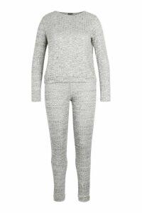 Womens Plus Rib Oversized Top + Jogger Co-Ord - grey - 20, Grey