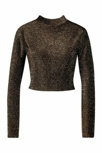 Womens High Neck Tie Back Glitter Long Sleeve Top - black - 14, Black