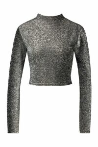 Womens High Neck Tie Back Glitter Long Sleeve Top - grey - 14, Grey