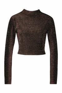 Womens High Neck Tie Back Glitter Long Sleeve Top - metallics - 14, Metallics
