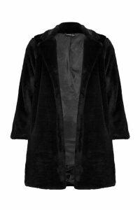 Womens Petite Luxe Faux Fur Coat - black - 6, Black