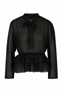 Womens Ruffle Hem Tie Neck Blouse - black - 6, Black