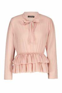 Womens Ruffle Hem Tie Neck Blouse - pink - 12, Pink