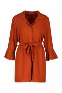 Womens Flare Sleeve Button Front Playsuit - orange - 10, Orange