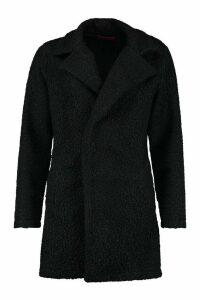 Womens Teddy Textured Wool Look Coat - black - 14, Black