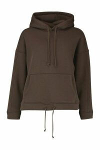 Womens Oversized Pocket Front Drawcord Detail Hoodie - beige - M, Beige