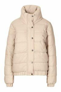 Womens Funnel Neck Puffer Jacket - beige - 14, Beige