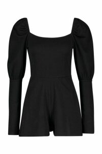 Womens Petite Puff Sleeve Square Neck Playsuit - Black - 12, Black