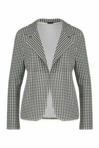 Womens Dog Tooth Tailored Blazer - black - 14, Black