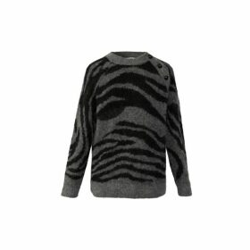 Gerard Darel Solange - Zebra Striped Mohair Sweater