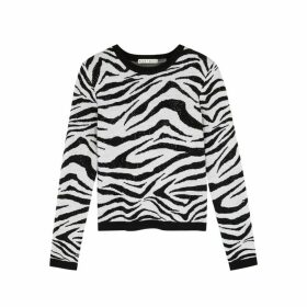 Alice + Olivia Connie Zebra-intarsia Wool-blend Jumper