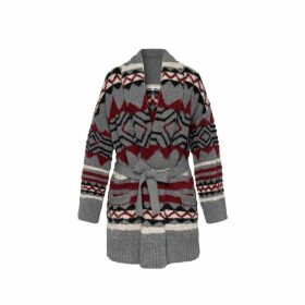 Gerard Darel Oversized Jacquard Shadow Cardigan