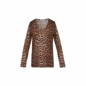 Gerard Darel Light Wool Leopard Print Shiraz Sweater