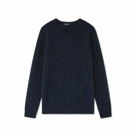 Hackett Cable Knit Lambswool And Cashmere Crew Neck Sweater