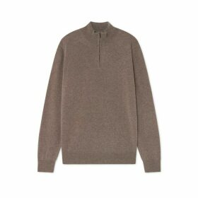 Hackett Merino Wool And Cashmere Blend Half Zip Sweater