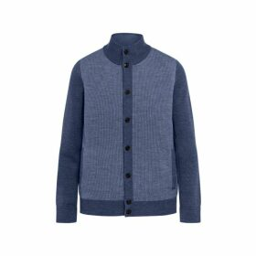 Hackett Contrast Front Panel Wool Cardigan