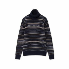 Hackett Fair Isle Wool And Cashmere Roll Neck Sweater