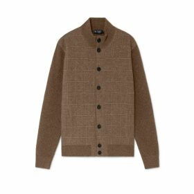 Hackett Tweed Front Merino Wool Cardigan