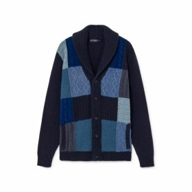 Hackett Patchwork Detail Wool And Cotton Shawl Collar Cardigan