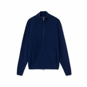 Hackett Contrast Knit Wool And Cashmere Blend Zipped Sweater