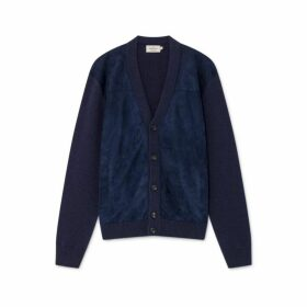 Hackett Suede Front Wool And Cashmere Cardigan