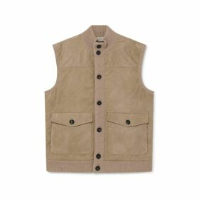 Hackett Suede Front Wool And Cashmere Gilet
