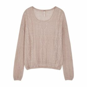 Free People Angel Pink Open-knit Jumper