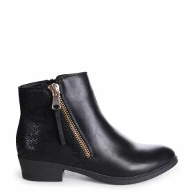 ARABELLA - Black Nappa Ankle Boot With Snake Back Detail & Gold Outer Zip